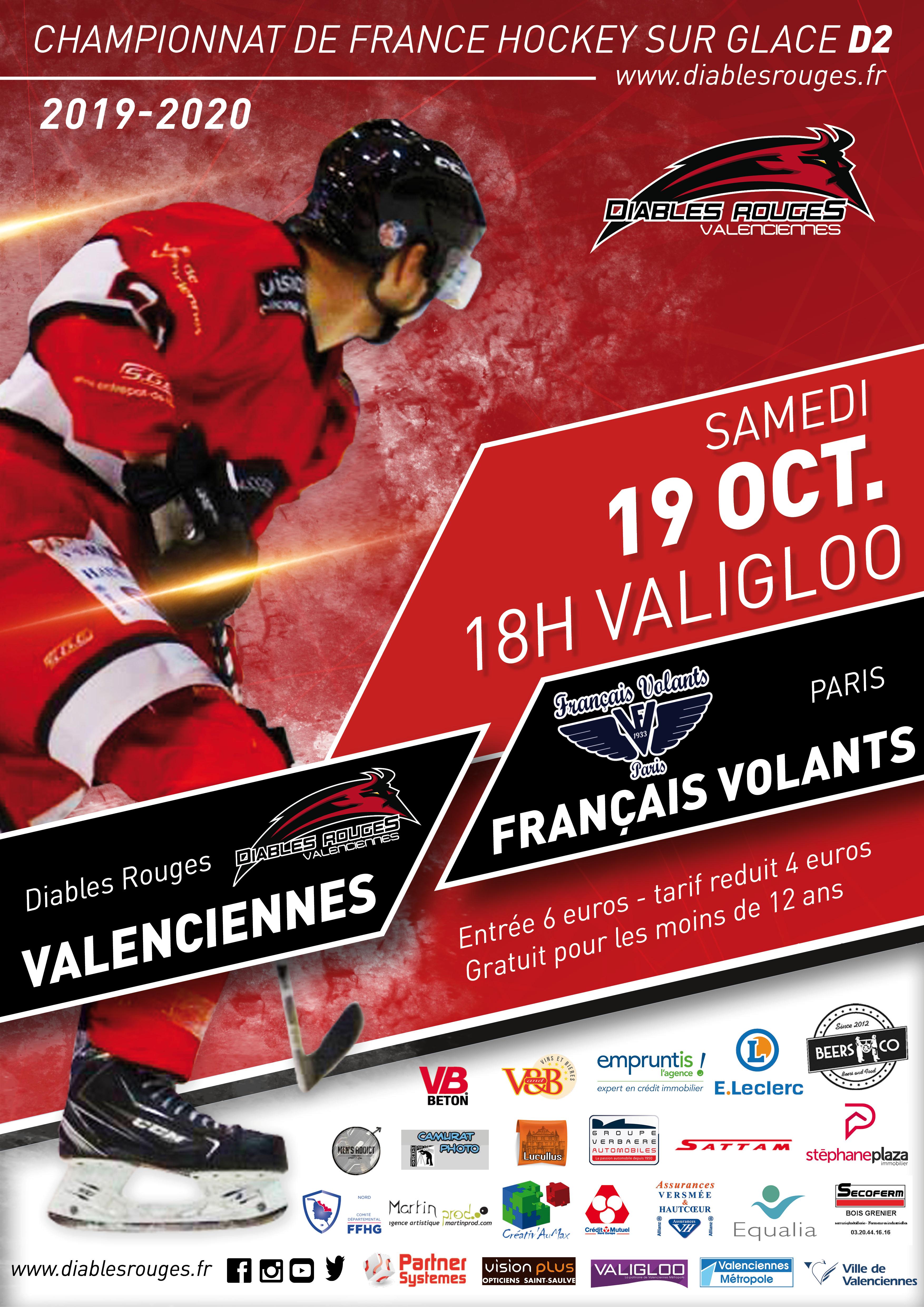 Valenciennes reçoit les Français Volants ce samedi 19 octobre 2019