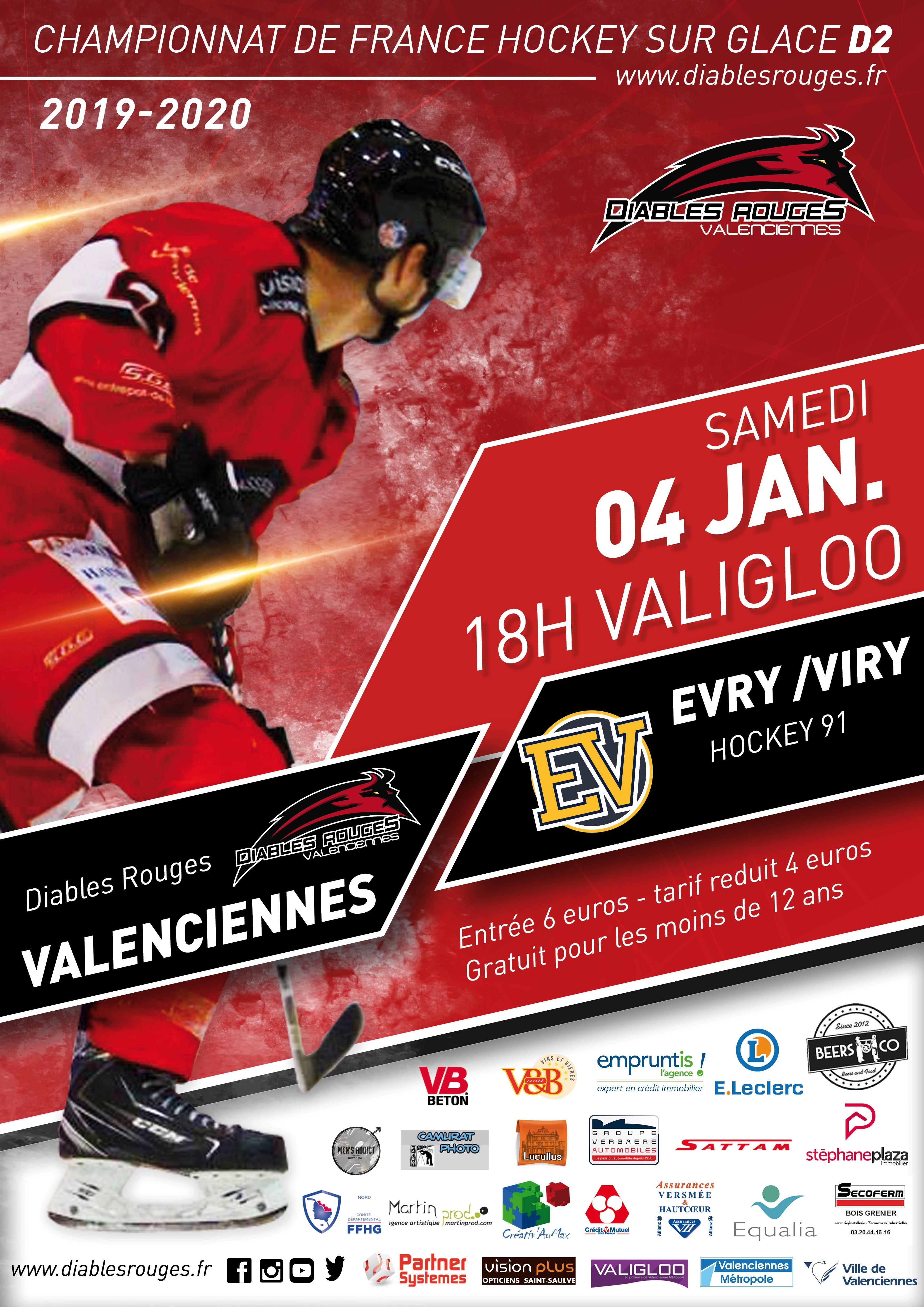 Valenciennes reçoit Evry/Viry ce samedi 04 janvier 2020